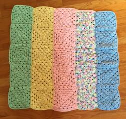 """30"""" x 32"""" Baby Blanket, Striped, Pink, Yellow, Green, Bl"""