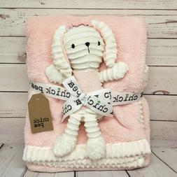 "Chick Pea 30x36 Baby Blanket Pink Creme with 10"" Bunny Rabbi"