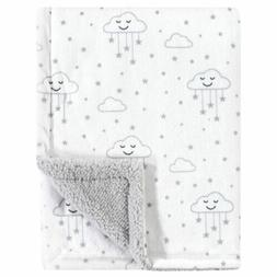 Hudson Baby 30x40 Clouds Stars Gray White Baby Blanket