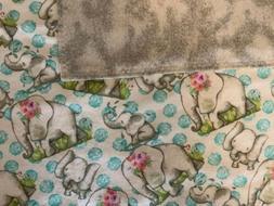 35x40 Handmade Sewn 100% Cotton Flannel Baby Blanket Elephan