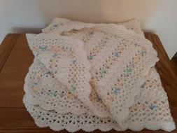 """38"""" Baby Blanket Afghan Handmade Crochet Wrap Shower Gift NE"""