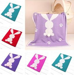 3D Rabbit Knitted Baby Blankets Swaddle Wrap Linen Cover Qui