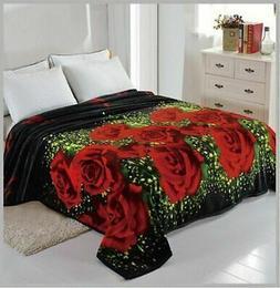 3D Roses Blanket throw Mink silky soft King Size Plush Black