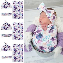 3Pcs Newborn Baby Floral Snuggle Swaddling Wrap Blanket Slee