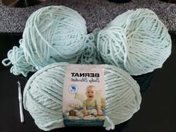 3x Bernat Baby Blanket Big Ball Yarn Baby Blue Green 10.5oz