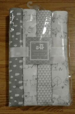 4 CRIBMATES Baby Receiving Blanket Set Woodland Fox Deer Bun