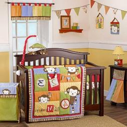 4 Lil' Monkeys 6 Piece Infant to Toddler Crib Bedding Set by