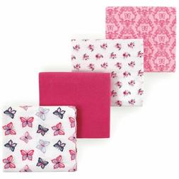 4 Pack Hudson Baby 100% Cotton Flannel Receiving Blankets Pi