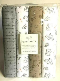 Koala Baby 4 Pack Flannel Receiving Blankets - Grey Fox - FR