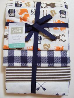 Hudson Baby 4 Pack Owl Fox Deer Plaid Stripe Arrow Flannel R