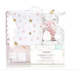 4 pc Crib SET sheets Bedding + Baby Blanket for BABY girl BA