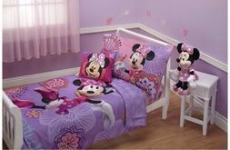 4 Piece Minnie's Fluttery Friends Toddler Bedding Set, Laven