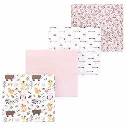 4 Piece Soft Baby Unisex Flannel Receiving Blankets One Size