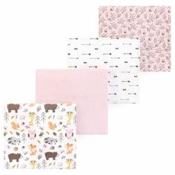 Hudson Baby 4 Receiving Blankets 100% Cotton Flannel 30 X 30