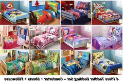 4PC BOYS GIRLS TODDLER BEDDING SET Comforter+Sheets+Pillowca