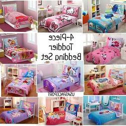 4pc Girls TODDLER BEDDING SET Comforter + Sheets Childs Bed