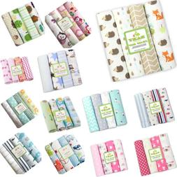 4pcs/Pack 100% Cotton Flannel Baby Swaddle Blanket Newborn S