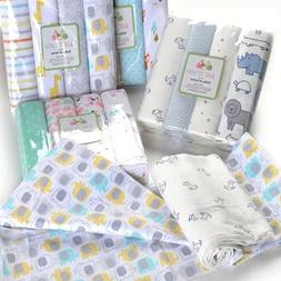 4PCS/Pack 100% Cotton Flannel Receiving Baby Blanket Coberto
