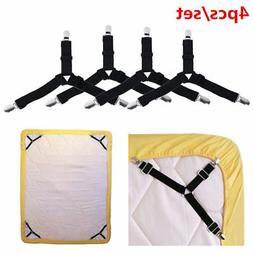 4x Adjustable Bed Sheet Grippers Holder Straps Clips, Mattre