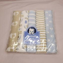 Gerber 5 Pack Baby Receiving Baby Blanket Flannel Elephants