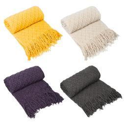 "50"" x 60"" Soft Diamond Woven Warm Sofa Bed Throw Blanket Hom"