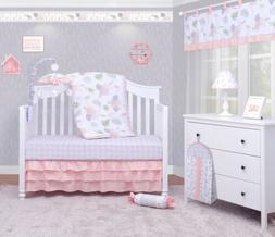 6-Piece Birds Flamingos Baby Girl Nursery Crib Bedding Sets