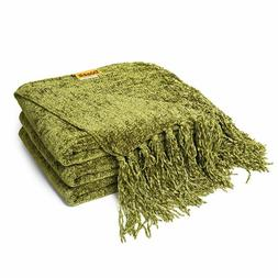 """60"""" x 50"""" Chenille Thick Couch Throw Blanket with Fringe Coz"""