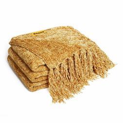 60 x 50 in Fluffy Chenille Fringe Knitted Throw Blanket for
