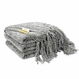 60 x 50 Knitted Throw Blanket Fluffy Chenille Cover Blankets