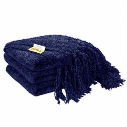 """60"""" x 50"""" Knitted Throw Blanket for Sofa Couch Decorative Fr"""