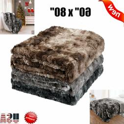 "60"" x 80"" 50"" x 60"" Faux Fur Fleece Soft Warm Cozy Bedding S"