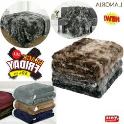"60""x 80"" Reversible Faux Fur Fleece Blanket Throw Soft Warm"
