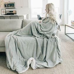 "60"" x 80"" Throw Blanket Sherpa Fleece Minky Microfiber Rever"
