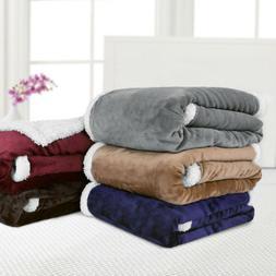 60''x80'' Reversible Flannel/Sherpa Throw Blanket So