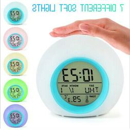 7 Color LED Changing Alarm Clock Night Light  Digital Clocks