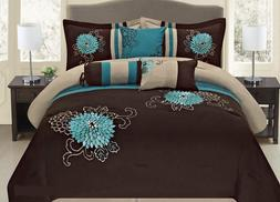 7 Pc Brown, Teal and Taupe Floral Striped Design Comforter s