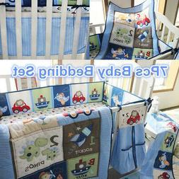 7Pcs Blue Nursery Baby Boy Bedding Crib Cot Set Quilt Bumper