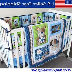 7Pcs Infant Baby Bedding Crib Cot Set Nursery Quilt Bumper S