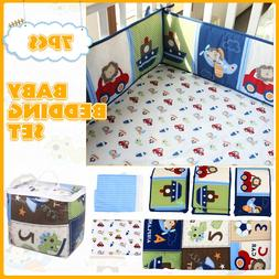 7Pcs Set Blue Baby Boy Bedding Crib Cot Nursery Quilt Bumper