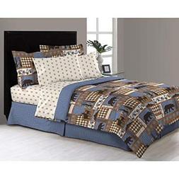 8 Piece Blue Tan Brown Hunting Themed Comforter Queen Set De