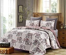 Hedaya Home Fashions 814 3ST Caravan Reversible Quilt Set, C