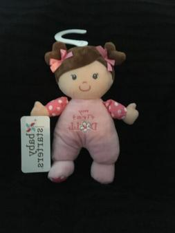 "Baby Starters 9"" My First Doll Pink Rattle Baby Plush Brown"