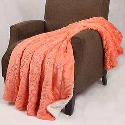 "BOON Embroidery Batik Sherpa Throw Blanket, 50"" x 60"", Spice"