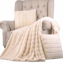 BOON Rabbit Faux Fur Throw Blanket with 2 Pillow Combo Set,