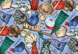 BTY Baseball Equipment Quilt Cotton Fabric Bat Glove Home Pl