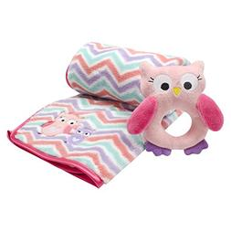 Baby Gear Baby Girls 2 Piece Plush Blanket with Applique & S