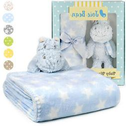 Baby Security Blanket Set with Plush Animal Soft Plush Fleec
