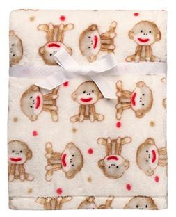 Baby Sock Monkey Ultra Plush Blanket Beige