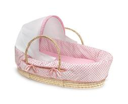 Badger Basket Natural Moses Basket with Fabric Canopy, Pink
