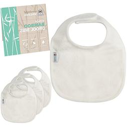 Bamboo Terry Drool Bibs. Waterproof 4-Piece Set For Baby by